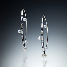 Black and White Curve Earrings by Susan Kinzig (Silver and Pearl Earrings)
