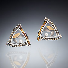 Mixed Metal Triangle Earrings by Susan Kinzig (Gold, Silver, Stone & Pearl Earrings)