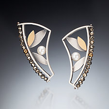 Mixed Metal Curved Earrings by Susan Kinzig (Gold, Silver & Stone Earrings)