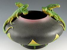 Five Lizard Bowl by Nancy Y. Adams (Ceramic Bowl)