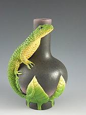 Lone Lizard Vase by Nancy Y. Adams (Ceramic Vase)