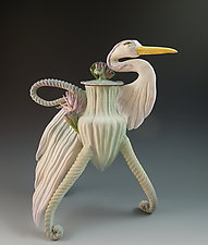 Jade Heron Tea by Nancy Y. Adams (Ceramic Teapot)