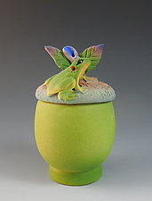 Green Acorn Box with Frog by Nancy Y. Adams (Ceramic Vessel)