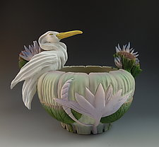 Jade Heron Bowl by Nancy Y. Adams (Ceramic Bowl)