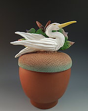 Heron on Acorn Box by Nancy Y. Adams (Ceramic Box)