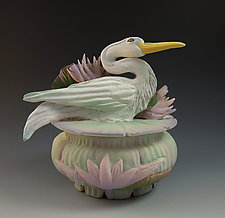 Jade Heron Box by Nancy Y. Adams (Ceramic Box)