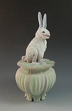 White Rabbit Box by Nancy Y. Adams (Ceramic Sculpture)