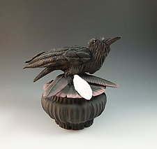Raven with Three Feathers by Nancy Y. Adams (Ceramic Sculpture)