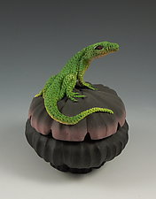 Lone Lizard Box by Nancy Y. Adams (Ceramic Sculpture)
