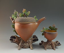 Oak Acorn Teaset by Nancy Y. Adams (Ceramic Sculpture)