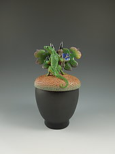 Lizard on Acorn Box by Nancy Y. Adams (Ceramic Box)