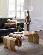 Chloe in Walnut with White Shade by Kyle Dallman (Wood Table Lamp)