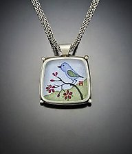 Bluebird Square Pendant Necklace by Ananda Khalsa (Silver Necklace)