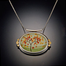 """Oval Autumn Maple Necklace"" by Ananda Khalsa (Gold Necklace)"