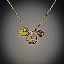 Plum Blossom and Ruby Charm Necklace by Ananda Khalsa (Gold, Silver & Stone Necklace)