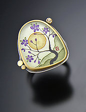 Plum Blossom Ring with Sapphire by Ananda Khalsa (Gold & Silver Ring)