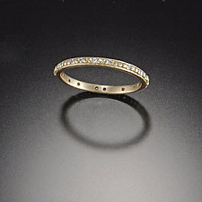 Tiny Raised Dot Band with Diamonds by Ananda Khalsa (Gold & Stone Wedding Band)