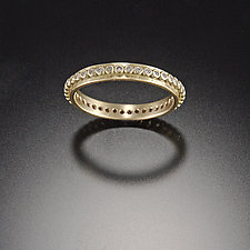 Raised Dot Band with Diamonds by Ananda Khalsa (Gold & Stone Wedding Band)