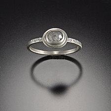 Gray Diamond Ring with Diamonds by Ananda Khalsa (Gold & Stone Wedding Band)