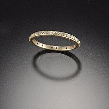 Tiny Raised Dot Band with Diamonds by Ananda Khalsa (Gold & Stone Wedding Band)