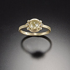 Rose Cut Yellow Diamond Ring with Diamond Accents by Ananda Khalsa (Gold & Stone Wedding Band)