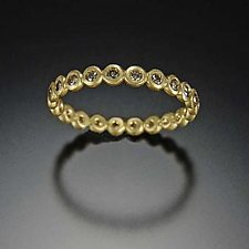 Hammered Dot Band with Diamonds by Ananda Khalsa (Gold & Stone Wedding Band)