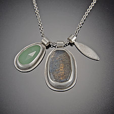 Rose Cut Labradorite and Chrysoprase Leaf Charm Necklace by Ananda Khalsa (Silver & Stone Necklace)