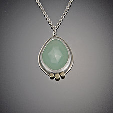 Rose Cut Chrysoprase Necklace with Gold Dots by Ananda Khalsa (Gold, Silver, & Stone Necklace)