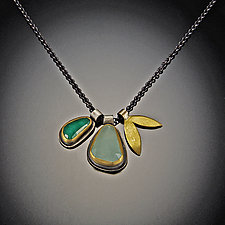 Rose Cut Emerald and Aquamarine Leaf Charm Necklace by Ananda Khalsa (Gold, Silver, & Stone Necklace)