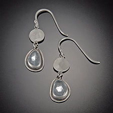 Single Disk Earrings with Blue Topaz by Ananda Khalsa (Silver & Stone Earrings)