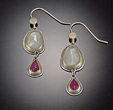Aquamarine and Ruby Earrings by Ananda Khalsa (Gold, Silver & Stone Earrings)