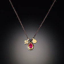 Ruby and Small Disk Gold Charm Necklace by Ananda Khalsa (Gold & Stone Necklace)