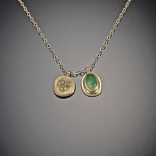Small Diamond Bud and Emerald Necklace by Ananda Khalsa (Gold & Stone Necklace)