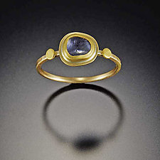 Tiny Blue Sapphire Ring with Hammered Dot by Ananda Khalsa (Gold & Stone Ring)