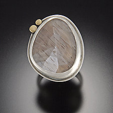 Rose Cut Gray Moonstone Ring with 22k Dots by Ananda Khalsa (Gold, Silver, & Stone Ring)