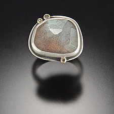 Rose Cut Labradorite Ring with Three Diamond Dots by Ananda Khalsa (Gold, Silver, & Stone Ring)