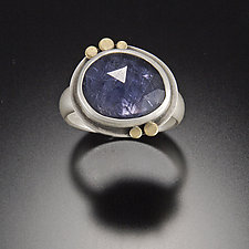 Rose Cut Iolite Ring with Five 22k Dots by Ananda Khalsa (Gold, Silver, & Stone Ring)