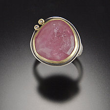 Rose Cut Pink Sapphire with Two Diamond Dots by Ananda Khalsa (Gold, Silver, & Stone Ring)