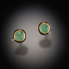 Chrysoprase Stud Earrings with Diamond Dot by Ananda Khalsa (Gold & Stone Earrings)