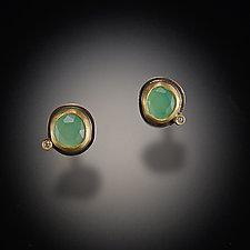 Chrysoprase Stud Earrings with Diamond Dot by Ananda Khalsa (Gold & Stone Earrings)