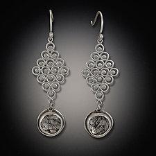Diamond Filigree Earring with Tourmalated Quartz Drops by Ananda Khalsa (Silver & Stone Earrings)