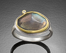 Rose Cut Labradorite Ring with Diamond Dot by Ananda Khalsa (Silver & Stone Ring)