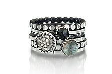 Diamond & Gem Silver Stacking Ring Set by Chihiro Makio (Silver & Stone Ring)