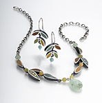 Leaf Eaerrings by Susan Kinzig (Silver, Stone & Polymer Earrings)