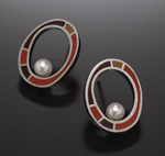 Pearl Loop Earrings by Susan Kinzig (Silver & Polymer Earrings)