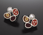 Clover Earrings by Susan Kinzig (Silver, Pearl & Polymer Clay Earrings)