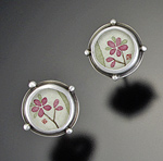 Tiny Plum Blossom Studs by Ananda Khalsa (Sterling Silver Earrings)