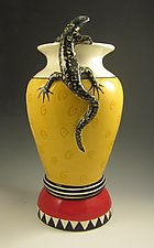 Red and Yellow Swirl Vase with Black Lizard by Lisa Scroggins (Ceramic Vase)