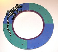 Blue and Teal Round Lizard Mirror by Lisa Scroggins (Ceramic Mirror)