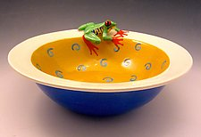 Yellow Spiral Red-Eyed Tree Frog Bowl by Lisa Scroggins (Ceramic Bowl)